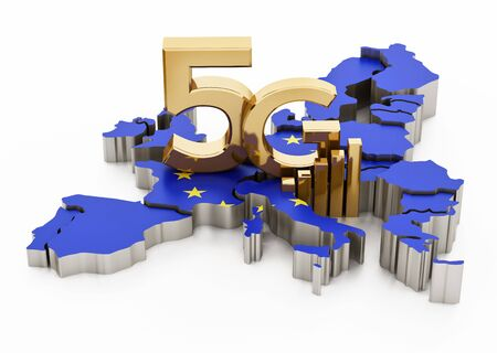5G word standing on Europe map covered with European Union flag. 3D illustration.