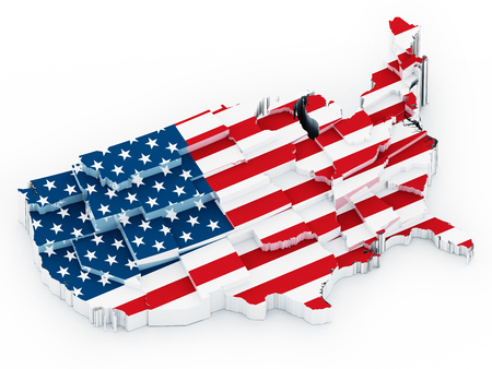 USA map covered with American flag. 3D illustration.