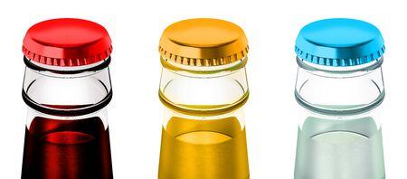Soda bottles with metal caps. 3D illustration.