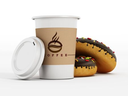 Coffee cup and donuts isolated on white background. 3D illustration.