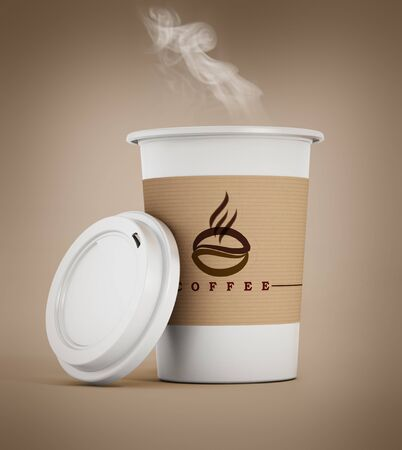 Disposable coffee cup with hot smoking coffee. 3D illustration. Stock Photo