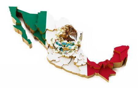 Mexico map with national flag texture showing state boarders. 3D illustration.