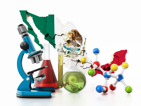 Mexico map and laboratory tools. Narcotics concept. 3D illustration. Stock Photo