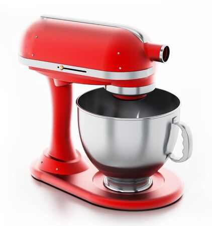 Red vintage mixer isolated on white background. 3D illustration.