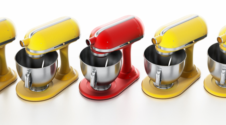 Red vintage mixer stands out among others. 3D illustration