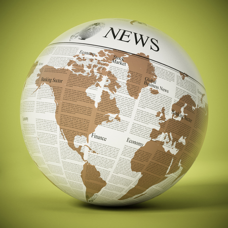 Globe with generic newspaper texture. 3D illustration.