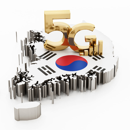 5G word standing on South Korea map and flag. 3D illustration.