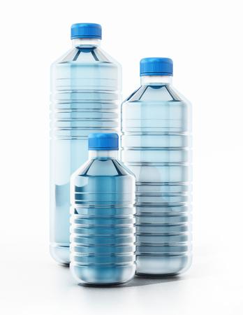 litre: Blue plastic bottles full of water. 3D illustration.