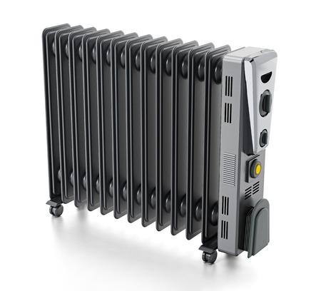 Modern oil radiator isolated on white background. Stock Photo