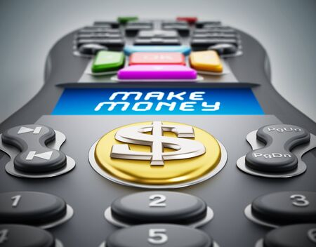 Make money text on remote controller LCD panel. 3D illustration.
