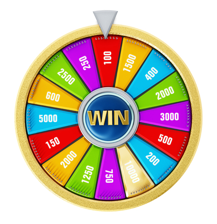 Wheel of fortune isolated on white background. 3D illustration. Stock Photo