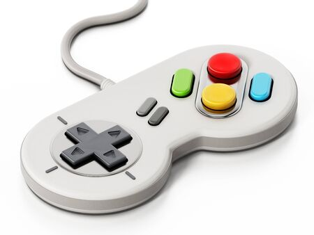 Vintage cable gamepad isolated on white background.