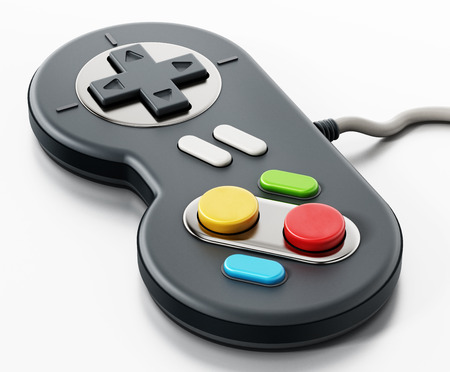 Vintage cable gamepad isolated on white background. Stock Photo - 87980461