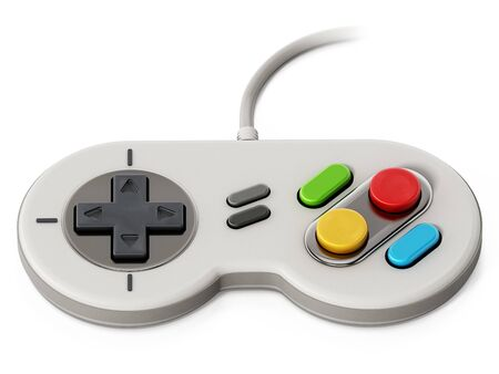 Vintage cable gamepad isolated on white background. Stock Photo - 87803760