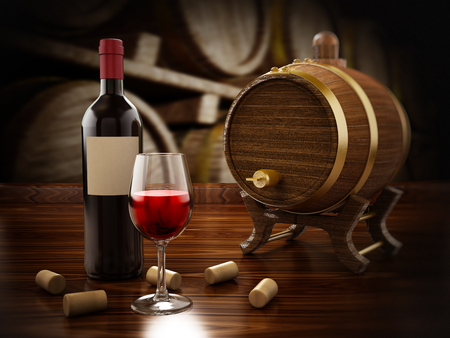 winemaking: Wine bottle, corks, glass and barrel 3D illustration
