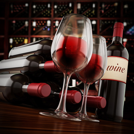 Wine bottles, and glasses on winery table. 3D illustration. Stock Photo