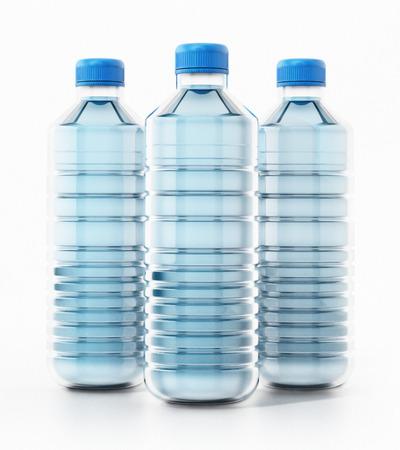 Blue plastic bottles full of water. 3D illustration.
