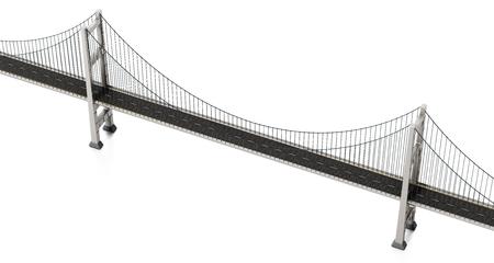 Suspension bridge isolated on white background. 3D illustration.
