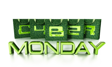 Cyber monday text on shopping bags. 3D illustration.