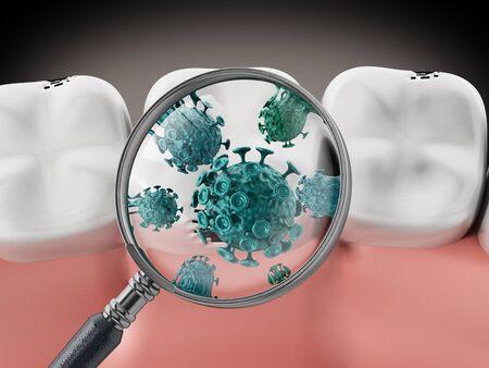 Vergrootglas op groene bacteriën. 3D illustratie.