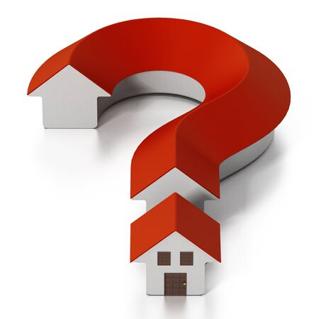 House shaped question mark isolated on white background. 3D illustration.