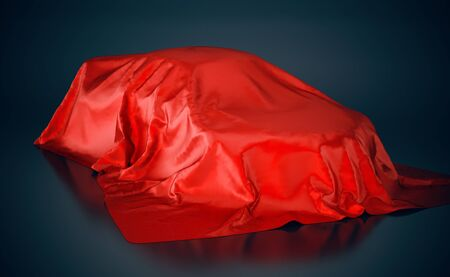 Car covered with red cloth. 3D illustration.