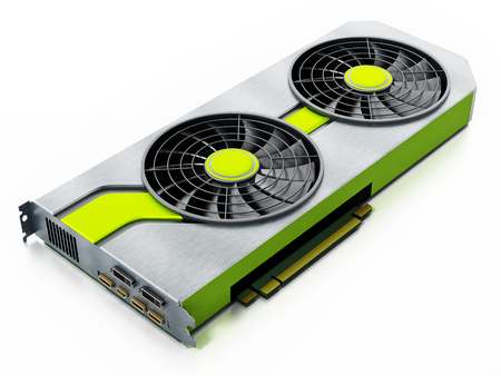 Modern graphics card isolated on white background. 3D illustration.