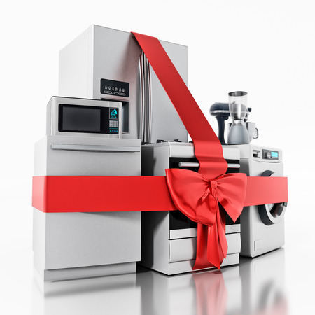 Household equipments wrapped with red ribbon. 3D illustration. Stock Photo