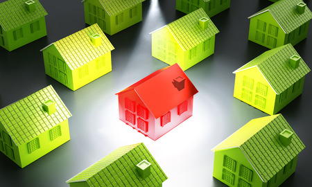 Red house standing out from the crowd. 3D illustration. Stock fotó