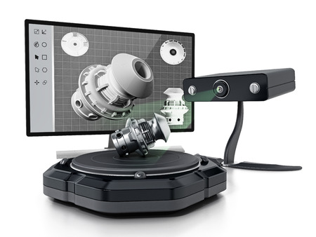 Escáner 3D ficticio aislado sobre fondo blanco. Ilustración 3D Foto de archivo