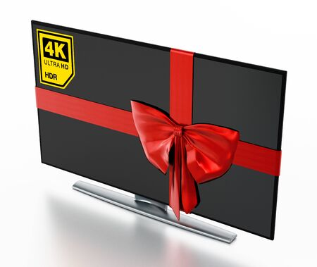 4K Ultra HD TV wrapped with red ribbon. 3D illustration. Stock Photo