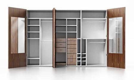 Empty wardrobe isolated on white background. 3D illustration.