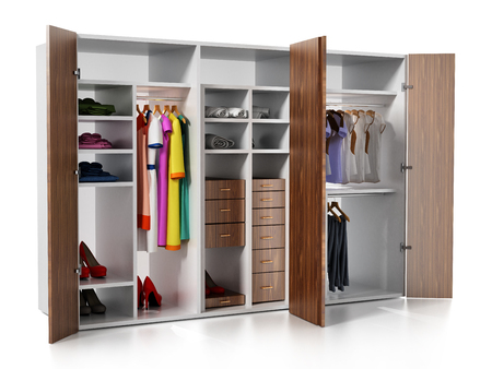 Wardrobe with clothes and accessories isolated on white background. 3D illustration.