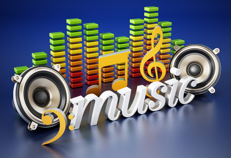 Music text, speakers, music notes and equalizer. 3D illustration.