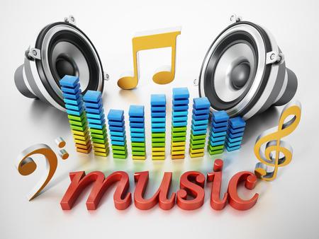 音楽テキスト、スピーカー、音符、イコライザー。3D イラスト。 写真素材 - 89928236