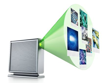 External hard drive with projected photos. 3D illustration.