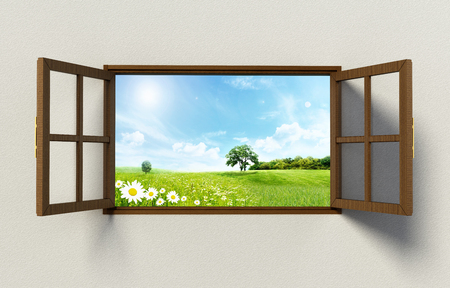 Open windows with a nice green field view. 3D illustration.