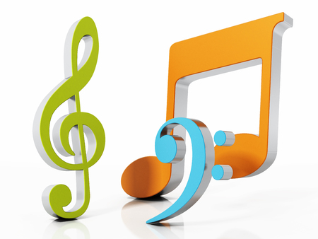 Musical symbols isolated on white background. 3D illustration. Stock Photo