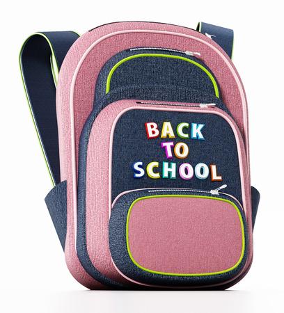 School bag isolated on white background. 3D illustration.