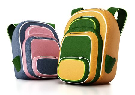 School bags isolated on white background. 3D illustration. Stock Photo