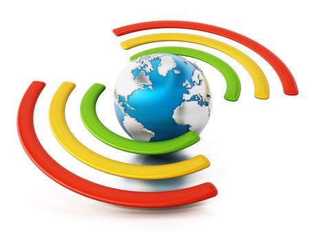 Wireless symbol around the blue earth. 3D illustration.