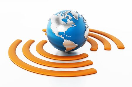 Wireless symbol around the blue earth. 3D illustration.