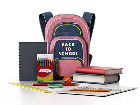 School backpack and objects isolated on white background. 3D illustration