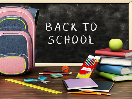 School backpack and objects scattered on the table. 3D illustration.