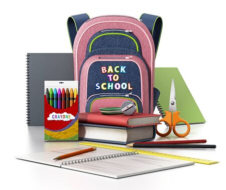 School backpack and education objects isolated on white background. 3D illustration.