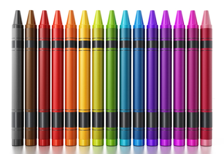 Color crayons isolated on white background. 3D illustration