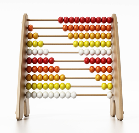 Abacus with multi colored beads isolated on white background. 3D illustration.
