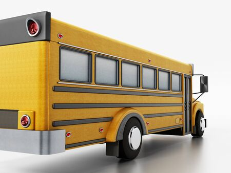 Yellow school bus isolated on white background. 3D illustration.