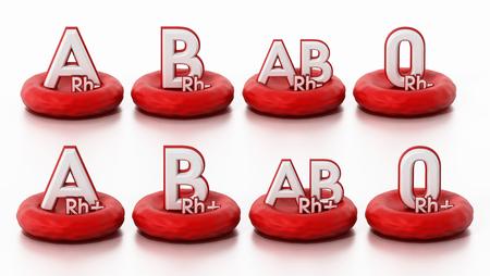 Tipos de sangre que se encuentran en las células sanguíneas. Ilustración 3D.