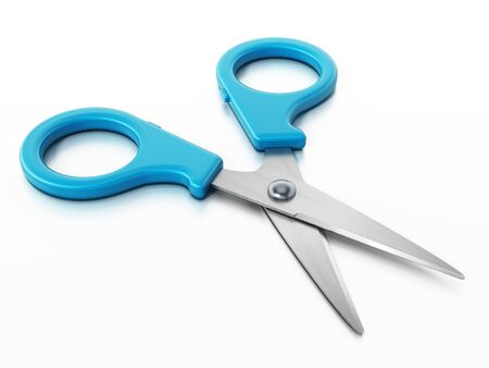 Blue kids scissors isolated on white background. 3D illustration. Stock Photo